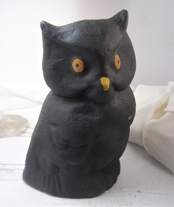 Vintage Halloween Pressed Paper Papier Mache Black Owl Orange Eyes