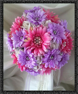 WEDDING BOUQUET, BRIDES POSY BOUQUET HOT PINK/LILAC GERBERAS CRYSTAL/JEWELS  - Jewel Daisy Bouquet