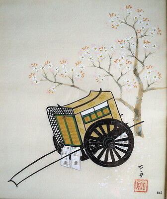 Vintage Orig Painting on Silk Rickshaw Under Cherry Tree Signed Framed -Estate