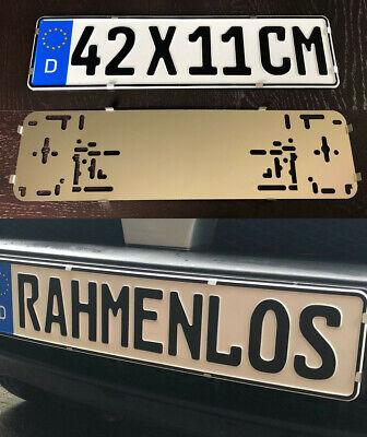 2x Top KURZ Rahmenlos Nummernschildhalter Kennzeichenhalter Edelstahl 420 x 110