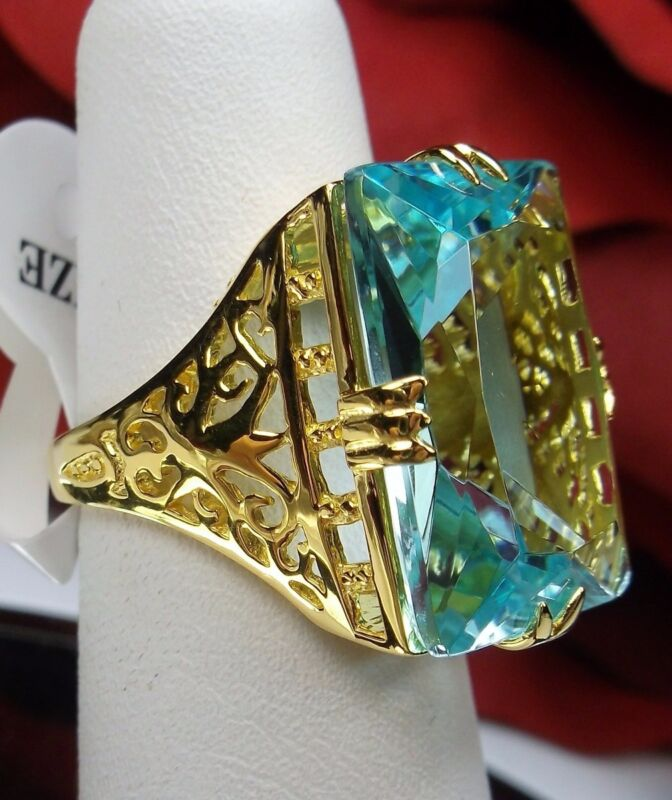 Aquamarine Ring/ 30ct Simulated Blue Gem Sterling Silver Filigree[Made To Order]