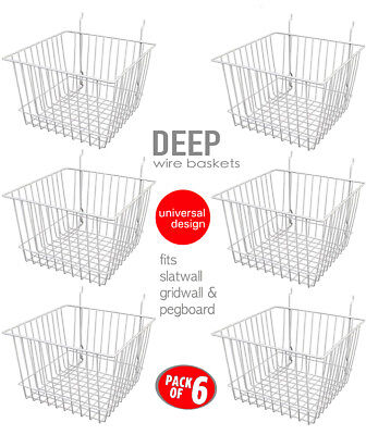 Only Hangers Deep Wire Baskets For Gridwall Slatwall And Pegboard- White 6pk