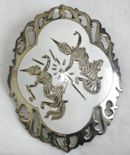 Siam Sterling White Enamel Brooch 2 Inches
