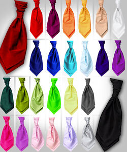 New Italian Satin Wedding Ruche Cravat Tie