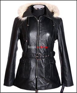Beyonce-Black-New-Ladies-Womens-Fur-Hood-Real-Soft-Sheep-Leather-Hooded-Jacket