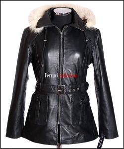 Beyonce-Black-New-Ladies-Womens-Fur-Hood-Real-Soft-Sheep-Leather-Hooded-Jacket