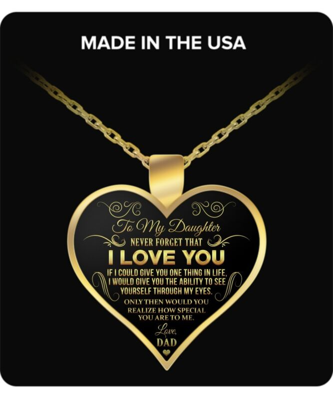 To My Daughter Necklace From Dad - Father Daughter Necklace Love Charm Pendants