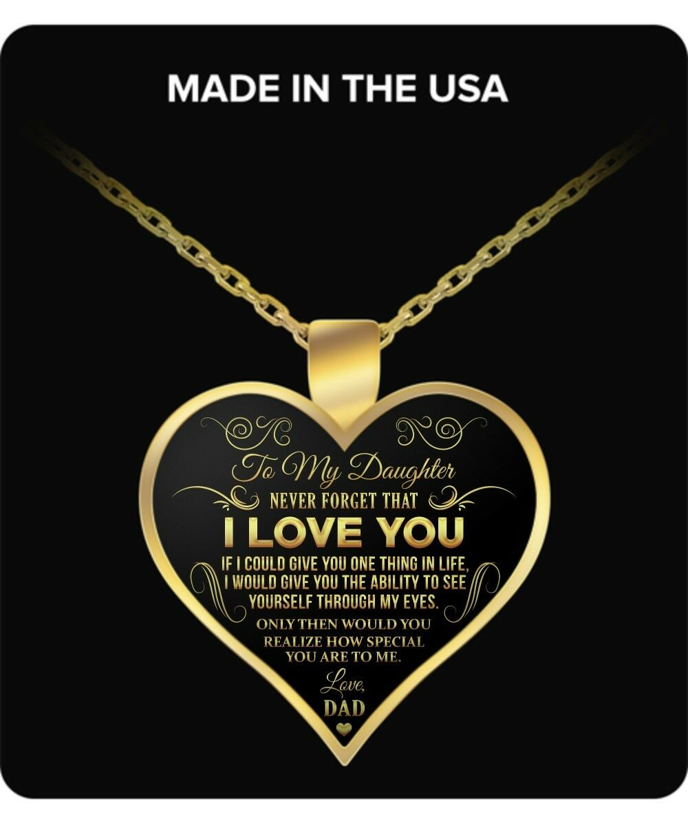 Jewelry - Daughter Through Eyes of Father - Gold Plated Necklace Love Charm Pendants