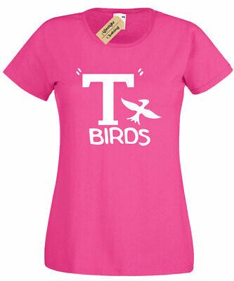 Damen T Birds T-Shirt Grease Kostüm Pink Damen Top Geschenk - Grease Sandy Kostüm Shirt