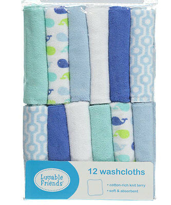 "Luvable Friends ""Sweet Whales"" 12-Pack Washcloths"