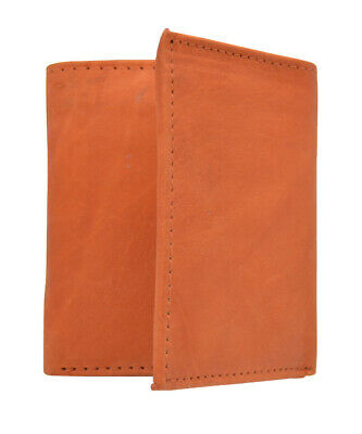 Leather Tri-fold Dark Orange Wallet Bills Credit Card Holder Pockets Unisex Men