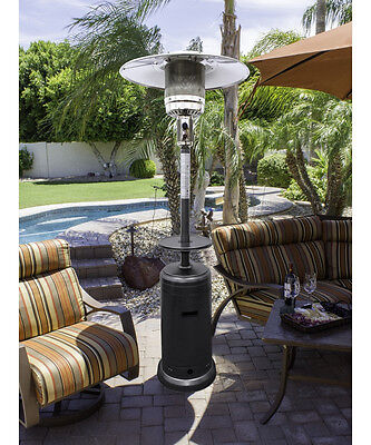 Hammered Silver Finish Tall Patio Heater Outdoor Home Living Appliance Deck