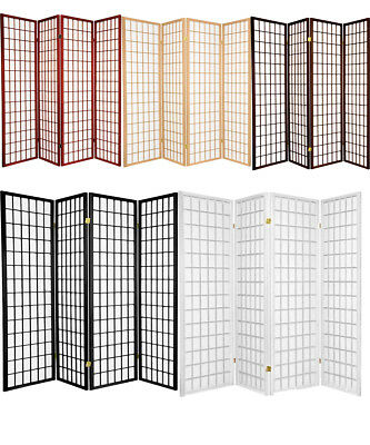 4 & 3 Panel Room Divider Screen Black White Cherry Natural Espresso Color NEW 3 Panel Black Room Divider