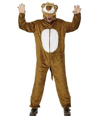 Adult Lion Costume Unisex Mens Womens Fancy Dress Furry Plush Animal Brown Fur