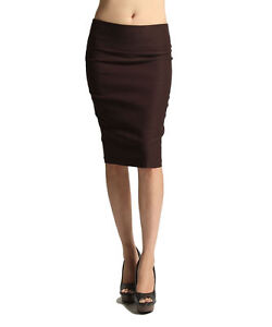 IUILE Women Slim Fitted High Waisted Pencil Stretch knee Skirts Office Look NEW!
