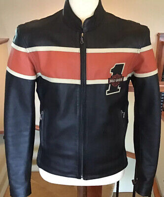 HARLEY DAVIDSON Men's SMALL Black Leather 1# Racing Jacket