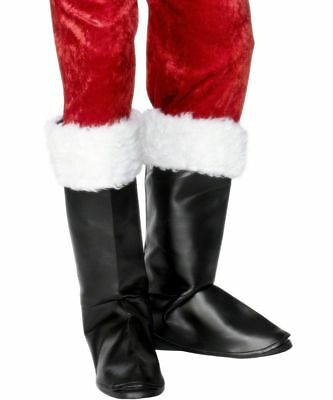MENS BLACK SANTA BOOT TOP COVERS MEDIEVAL PETER PIRATE FANCY DRESS COSTUME FUR - Costume Boot