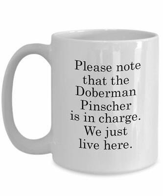 Funny Doberman Pinscher Dog Mug - We Just Live Here Mug - Doberman Mug  (Pinschers Mug Dog)