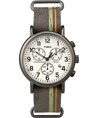 Timex Tw2p78000   Weekender  Brown Leather Watch  Chronograph  Tw2p780009j