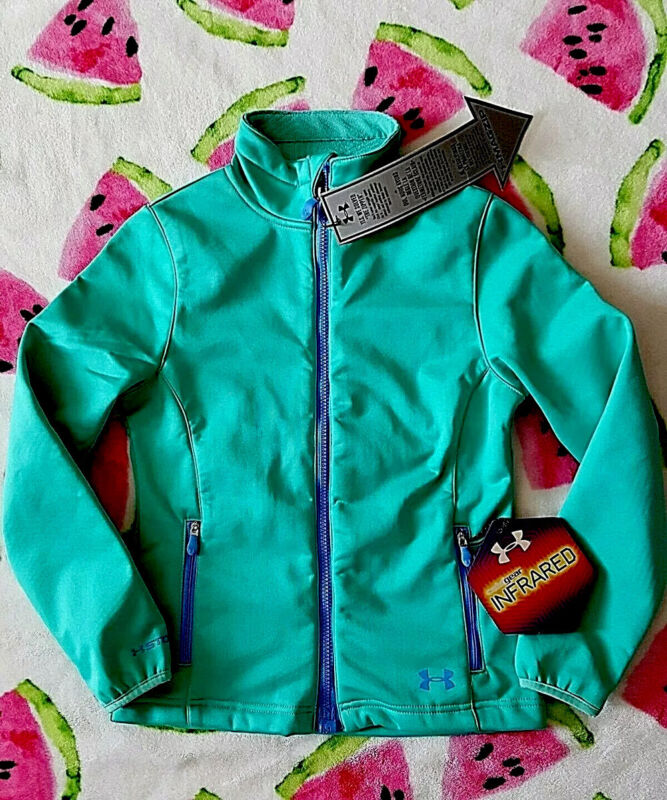 Under Armour ColdGear Infrared TEAL Blue Green Active Jacket Girls S 7-8 $135