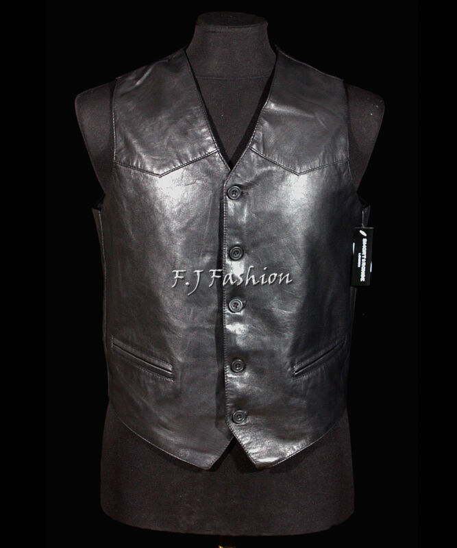 Indiana Black Mens Smart Formal Suede Leather Waistcoat