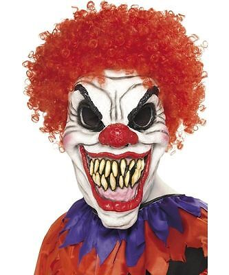 Scary Clown Mask with Hair Evil Halloween Fancy Dress Kids Adult Boys Mens ()