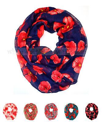 Poppy Flower Floral Print Block Circle Loop Wrap Infinity Scarf Casual Fashion (Eternity Circle Loop)