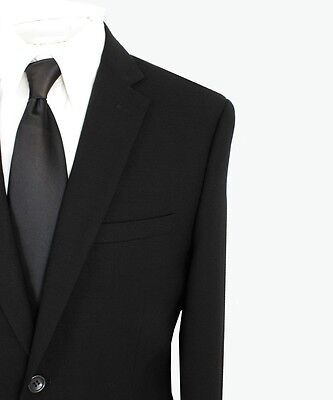Paolo Giardini 100% Wool Mens Suit 2 Button Flat Front Solid Black Slim Fit 875S
