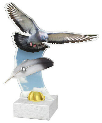 PIGEON FEATHER TROPHY 2 PIECE PRINTED ACRYLIC *FREE ENGRAVING, GIFT BOX 235mm