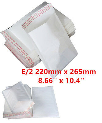 100  E/2 E2 White Padded Bubble Lined Postal MAIL Envelopes LITE 220x265mm 4U