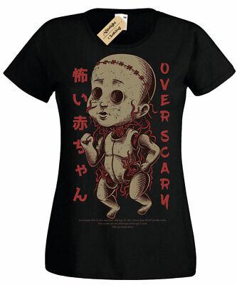 Scary Puppe T-Shirt Halloween Gruselig Horror Gothic Gespenstisch Damen