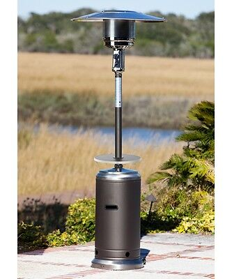 Mocha Stainless Steel Finish Tall Patio Heater Outdoor Home Adjustable Table