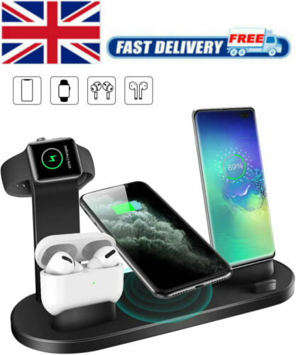 Details about Wireless Charger Stand 4 In 1 Charging Dock Apple Watch SeriesiPhone Station UK