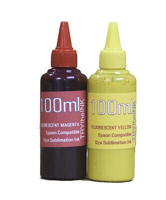 Fluorescent Dye Sublimation Ink 2- Bottles 100ml For Epson Printers Non-oem