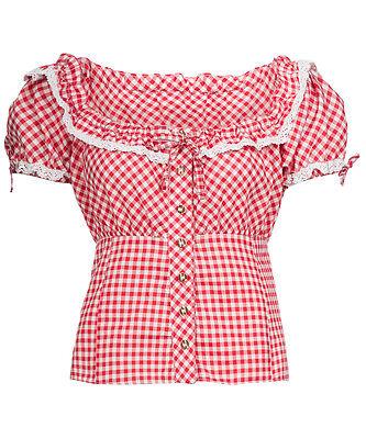 Trachten Bluse Damen - Rot Karo - Baumwolle