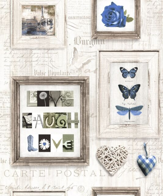 Muriva Live Laugh Love Wallpaper 131502 Butterfly Heart Rose Typography Blue