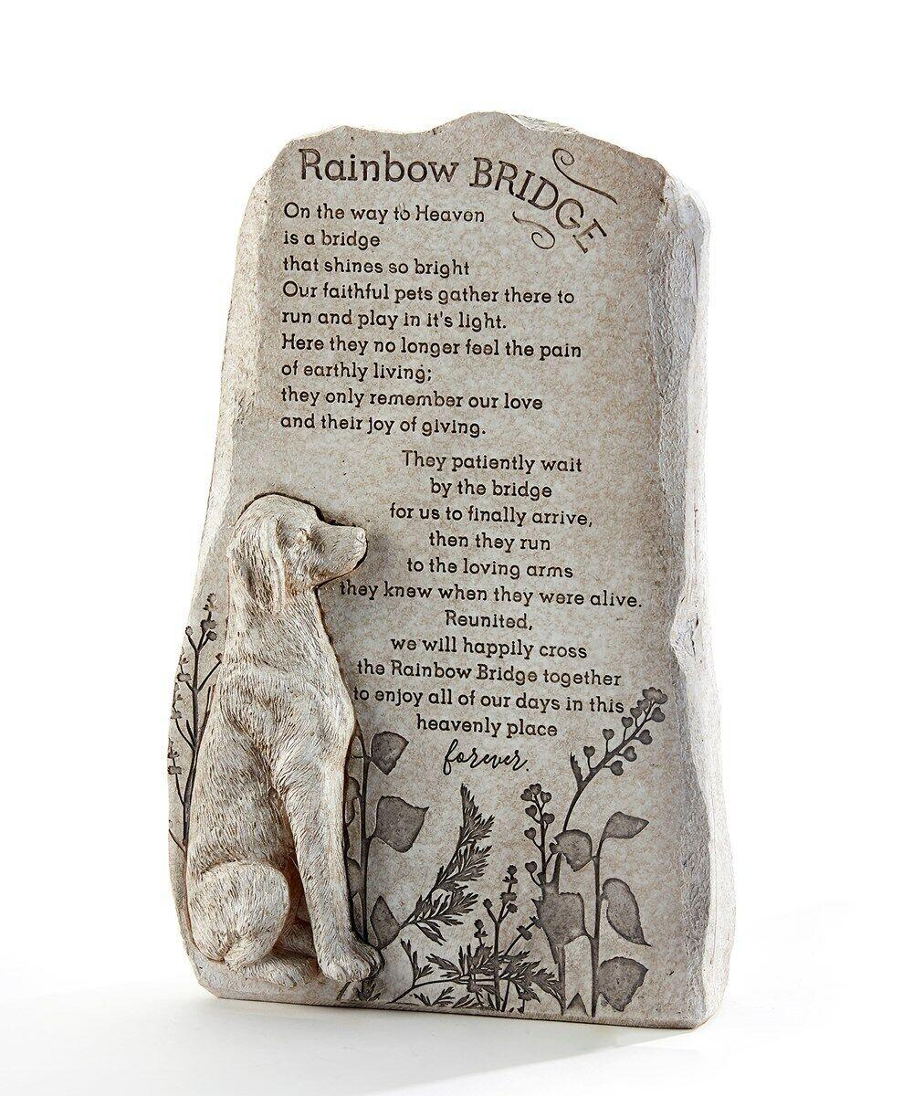 12.4 Memorial Up Right Dog Sentiment Rainbow Bridge Stone Statuary Poly Resin - CA$59.99