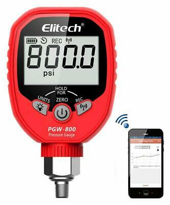 Elitech Pgw-800 Wireless Digital Pressure Gauge 800psi Refrigeration Hvac Record