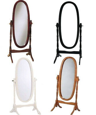- Swivel Full Length Wood Cheval Floor Mirror, White Oak Cherry Black Finish