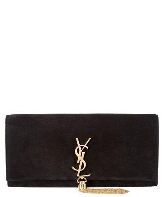 100% AUTHENTIC  NEW WOMEN YVES SAINT LAURENT KATE SUEDE VELVET BLACK CLUTCH (Yves Saint Laurent Suede Clutch)