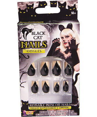 Halloween Cat Claw Nails (Womens Black Cat Fingernails Claw Nail Set Costume)
