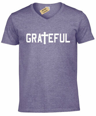 Jesus Mens Tee (Mens Grateful Christian Religious Tee Cross Jesus Religion V-Neck)