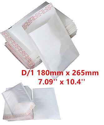 100 D/1 D1 White Padded Bubble Lined Postal MAIL Envelopes LITE 180x265mm 4U