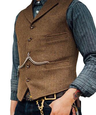 Men's Fashion Suit Vests Wool Herringbone Tweed Waistcoat Notch Lapel -