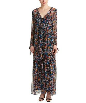 Ella Moss 'Wildflower' Maxi Sheer SILK Dress Button Front S NWT Black Multi $300