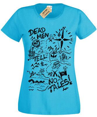 Treasure Map T-Shirt Womens Pirate dead men tell no tales ladies top