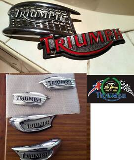 triumph tank badges screw sidecover 100 year decall