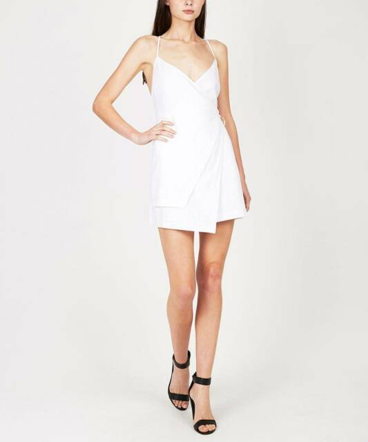 General Pants Alice in the Eve White Linen Wrap Dress NEW 6 ...