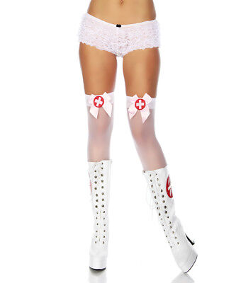 Krankenschwester Stockings Overknee Strümpfe Kostüm Karneval Fashing - Rosa Krankenschwester Kostüm