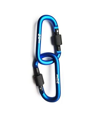 Carabiners (Set of 2) D-Ring Hooks - Screw Lock - Superior Clips - Blue - LeWave
